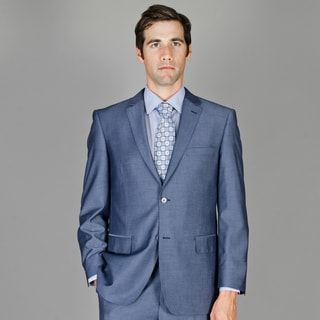 Men's Dark Blue Sharkskin Wool and Silk Blend Suit