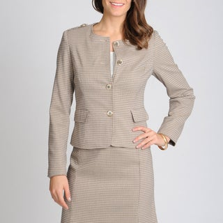 Sharagano Noir Women's Walnut Patterned Career Jacket Seperate