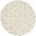 Martha Stewart Spring Wheel Mosaic Milk Pail Blue Cotton Rug (4'x 4' Round)