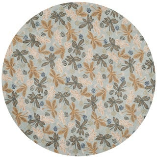 Martha Stewart Meadow Sky Blue Wool Rug (4'x 4' Round)