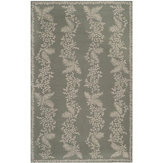 Martha Stewart Fern Row Tarragon/ Green Wool Rug (7'9 x 9'9)