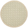 Martha Stewart Blossom Lattice Garden Pool Blue Wool Rug (6'x 6' Round)