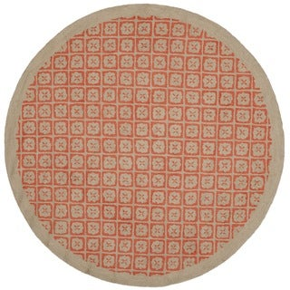 Martha Stewart Blossom Lattice Quince Red Wool Rug (4'x 4' Round)