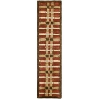 Martha Stewart Colorweave Plaid October Leaf Red Wool/ Viscose Rug (2'3 x 10')