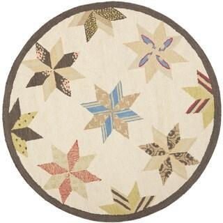 Martha Stewart Lemoyne Star Bone Foler Wheat Wool Rug (6'x 6' Round)