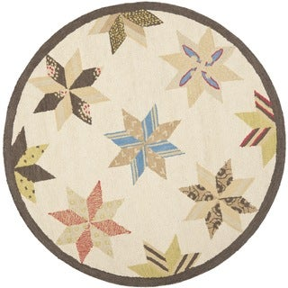 Martha Stewart Lemoyne Star Bone Foler Wheat Wool Rug (6'x 6' Round)
