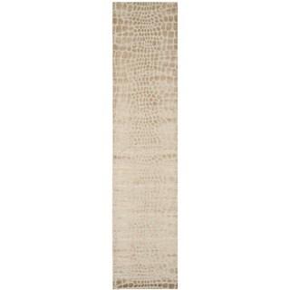 Martha Stewart Amazonia Raft/ Beige Silk Blend Rug (2'3 x 10')