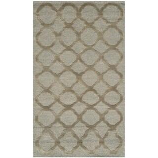 Martha Stewart Quatrefoil Blue/ Maize Silk/ Wool Rug (2'6 x 4'3)