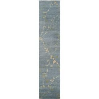 Martha Stewart Trellis Blue/ Quartz Wool Rug (2'3 x 10')