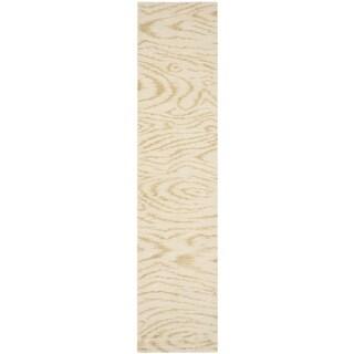 Martha Stewart Faux Bois Pinenut Silk/ Wool Rug (2'3 x 10')