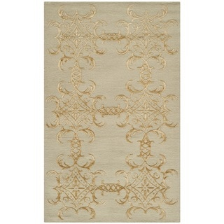 Martha Stewart Tracery Grey/ Beige Silk/ Wool Rug (2'6 x 4'3)