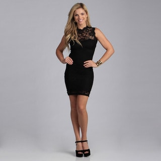Stanzino Juniors Sleeveless Black Lace Dress