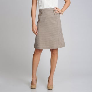 Sharagano Noir Women's Walnut Patterned A-line Career Skirt