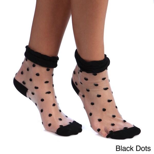 Women's Sheer Stiched Pattern Trim Crew Socks