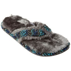 Women's Charcoal Faux Fur Sandal Slippers