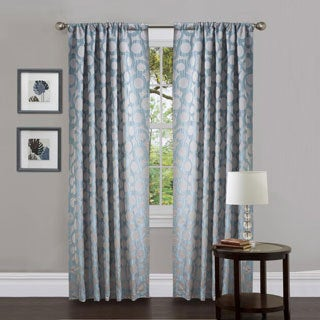 Lush Decor Blue Polyester 84-inch Orbit Curtain Panel Pair