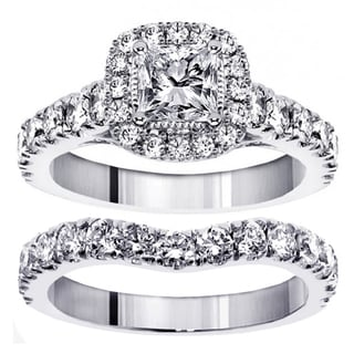 14k/18k White Gold or Platinum 3ct TDW Princess Diamond Bridal Ring Set (F-G, SI1-SI2)