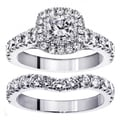 14k White Gold 3ct TDW Princess Diamond Bridal Ring Set (F-G, SI1-SI2)
