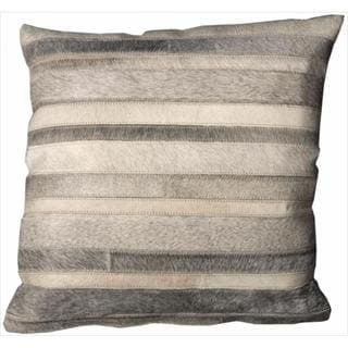 Mina Victory Natural Leather Hide 20x20-inch Stripe Grey Decorative Pillow by Nourison