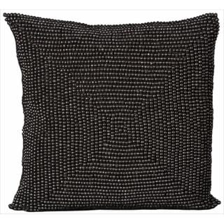 Mina Victory Wood Beads Black 16x16-inch Decorative Pillow by Nourison
