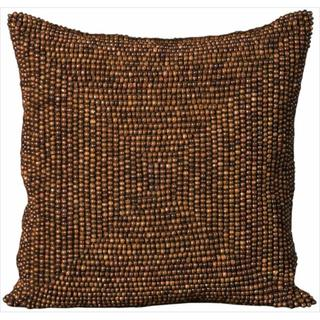 Mina Victory Wood Beads Brown 16x16-inch Decorative Pillow by Nourison