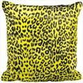 Mina Victory Natural Leather Hide Spotted Yellow 20 x 20-inch Pillow by Nourison