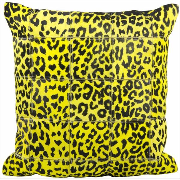 Mina Victory Natural Leather and Hide Leopard Print Yellow Throw Pillow (20-inch x 20-inch) by Nourison