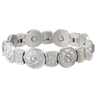 Sabona Round Flower Stainless Steel Magnetic Bracelet