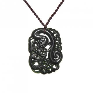 Handmade Dark Green Jade Phoenix Necklace (China)