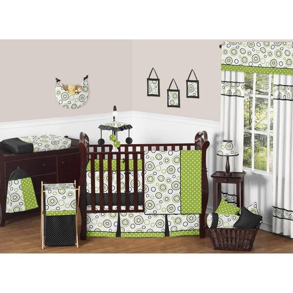 Sweet JoJo Designs Spirodot Lime and Black 9-piece Crib Bedding Set