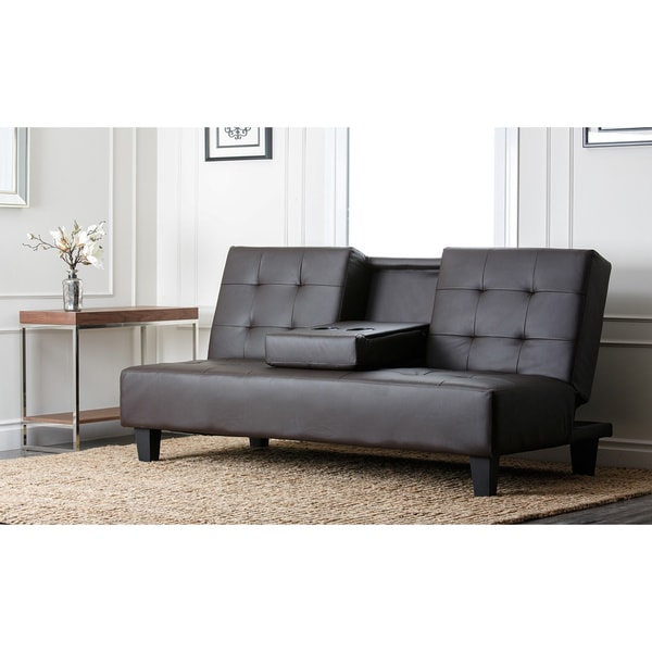 Brown Leather Sofa Convertible Sofabed Lounge Furniture Home Theater