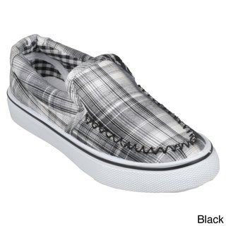Journee Kids' 'Brian-Pld' Topstitched Plaid Slip-on Shoes