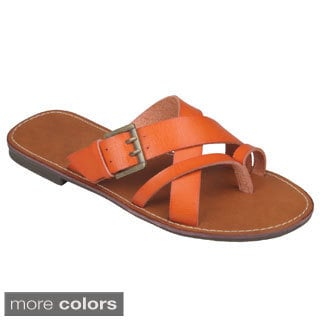 Journee Collection Women's 'Cable-16' Buckle Accent Slide Sandals