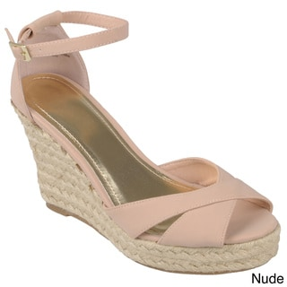 Journee Collection Women's 'Lexi-41' Ankle Strap Wedge Shoes
