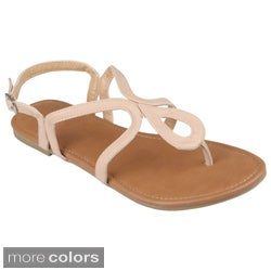 Journee Collection Women's 'Lotus-1' Flat T-strap Sandals