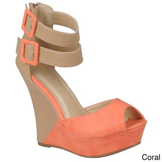 Hailey Jeans Co. Women's 'Monaco-3' Two-tone Ankle Strap Wedges