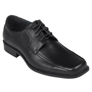 Oxford and Finch Men's Black Leather Square-Toe Lace-Up Oxfords
