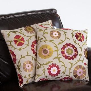 18-inch Linen Flowers Pillows (Set of 2)