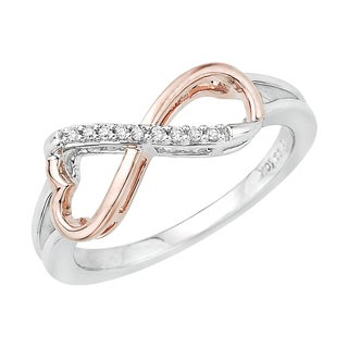 Two-tone Sterling Silver Diamond Accent Heart Infinity Ring