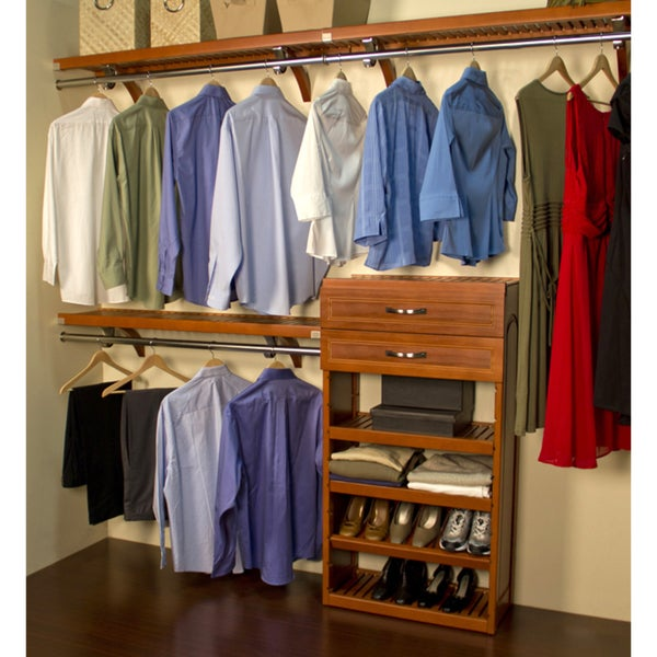 John Louis 16-inch Deep Carmel Finish Woodcrest Closet System