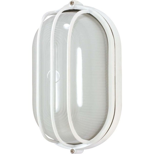 Nuvo Energy Saver 1-light Semi Gloss white Oval Cage Bulk Head