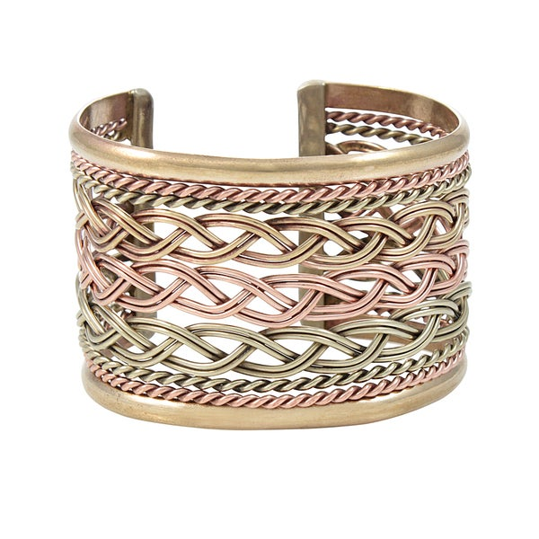 Handcrafted Mixed Metals Center Braids Cuff Bracelet (Mexico)