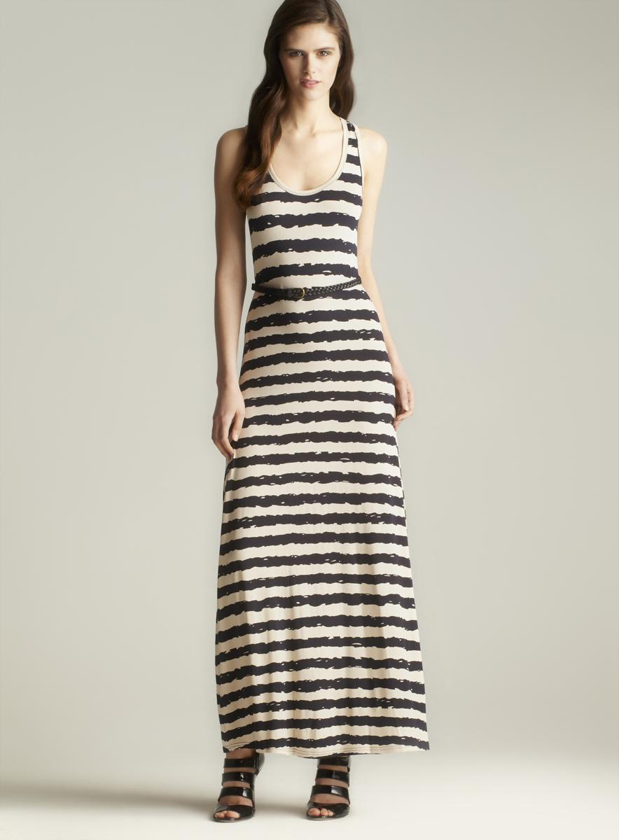 Calvin Klein Belted Striped Maxi Dress