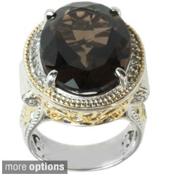 Michael Valitutti Two-tone Baltic Amber or Smoky Quartz and Sapphire Ring