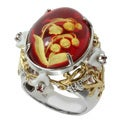 Michael Valitutti Two-tone Carved Amber, White Agate and Orange Sapphire Ring