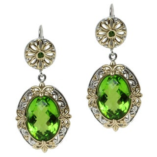 Michael Valitutti Two-tone Green Quartz and Chrome Diopside Earrings
