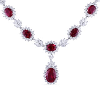 Miadora Sterling Silver Created Ruby and Cubic Zirconia Necklace