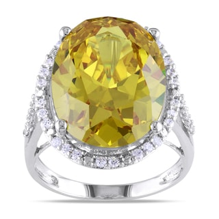 Miadora Sterling Silver Yellow Cubic Zirconia Cocktail Ring