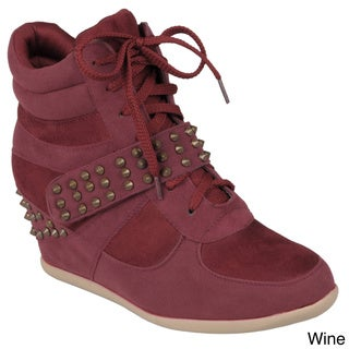 Hailey Jeans Co. Women's 'Genie-6' Stud Detail Wedge High-top Sneaker