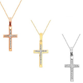 10k Yellow, White or Rose Gold 1/10ct TDW Diamond Cross Pendant Necklace (H-I, I2)